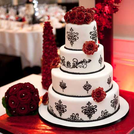 11 Black White Stencil Red Roses Wedding Cake Cioccolateria Ballerini